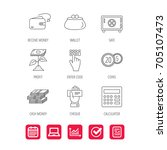cash money  safe box and... | Shutterstock .eps vector #705107473