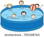 cartoon illustration of six... | Shutterstock .eps vector #705108763