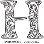 hand drawn capital letter h in...   Shutterstock .eps vector #705109567