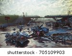 ruins of the flooding city.... | Shutterstock . vector #705109903