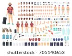 tourist creation set or diy kit.... | Shutterstock .eps vector #705140653