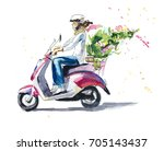 girl on the scooter with... | Shutterstock . vector #705143437