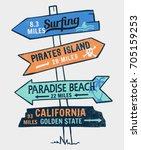 signboard on a beach concept.... | Shutterstock .eps vector #705159253