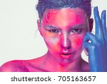 body art woman face portrait ... | Shutterstock . vector #705163657