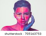 body art woman face portrait ... | Shutterstock . vector #705163753