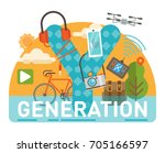 generation y scene with large... | Shutterstock .eps vector #705166597