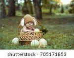 cute little baby boy in suit of ... | Shutterstock . vector #705171853