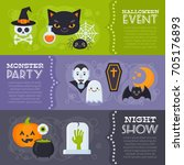 flat halloween banners with... | Shutterstock .eps vector #705176893