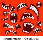 set with different monster's... | Shutterstock .eps vector #705180343