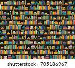 raster copy  books on shelves ...   Shutterstock . vector #705186967