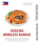 sizzling boneless bangus.... | Shutterstock .eps vector #705187603