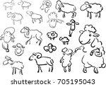set of doodle sheeps | Shutterstock .eps vector #705195043