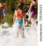 youth at a foamy party on the... | Shutterstock . vector #705196513