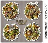 set of beer fest cartoon... | Shutterstock .eps vector #705197677