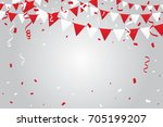 red tiny confetti and ribbon... | Shutterstock .eps vector #705199207