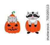 vector flat cartoon funny cute... | Shutterstock .eps vector #705200113