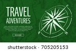 template of travel banner with... | Shutterstock .eps vector #705205153