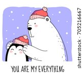 big white polar bear takes care ... | Shutterstock . vector #705216667