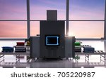 3d rendering airport security... | Shutterstock . vector #705220987