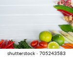 ingredients for thai soup or... | Shutterstock . vector #705243583