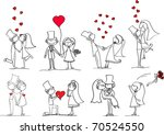 set of wedding pictures  bride... | Shutterstock .eps vector #70524550