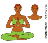 vector woman  sitting in yoga... | Shutterstock .eps vector #705249943