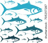 blue tuna pattern | Shutterstock .eps vector #705257287