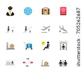 airport icons. set of travel... | Shutterstock .eps vector #705262687