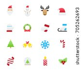 christmas icons. set of... | Shutterstock .eps vector #705262693