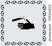 test tube icon risk for hand... | Shutterstock .eps vector #705264823