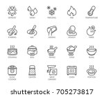 20 line icons for cooking theme.... | Shutterstock .eps vector #705273817