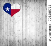 texas  flag with heart and ... | Shutterstock . vector #705285733