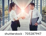 businessman woman and man  are... | Shutterstock . vector #705287947