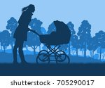 mother with baby cart  in park... | Shutterstock .eps vector #705290017