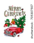 christmas card. red retro truck ... | Shutterstock .eps vector #705307507