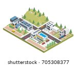 modern luxury isometric green... | Shutterstock .eps vector #705308377