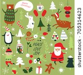 christmas cards with cute santa ... | Shutterstock .eps vector #705314623