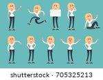 presentation set of a woman in... | Shutterstock .eps vector #705325213