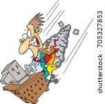 cartoon man in flames sitting...   Shutterstock .eps vector #705327853