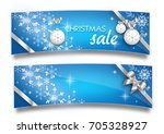 set of two christmas banners... | Shutterstock . vector #705328927