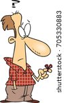 cartoon forgetful man with a...   Shutterstock .eps vector #705330883