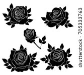 silhouette of a rose in a... | Shutterstock .eps vector #705333763