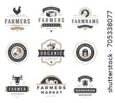farmers market logos templates... | Shutterstock .eps vector #705338077