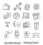 media doodle icons | Shutterstock .eps vector #705347047