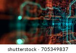 abstract technological... | Shutterstock . vector #705349837