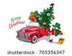 christmas card. red retro truck ...   Shutterstock .eps vector #705356347