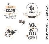 set of cute hand drawn positive ...   Shutterstock .eps vector #705365623