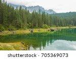 beautiful lake of carezza in... | Shutterstock . vector #705369073