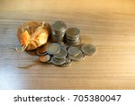 many thai baht coins on the... | Shutterstock . vector #705380047
