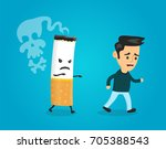 cigarette runs over man guy.... | Shutterstock . vector #705388543